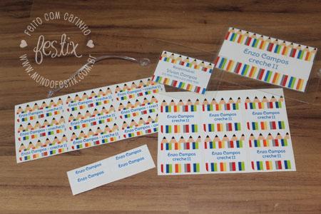 Kit completo do Enzo: etiquetas em diversos formatos e Tag para mochila e lancheira