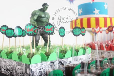 Topper de docinho do Hulk