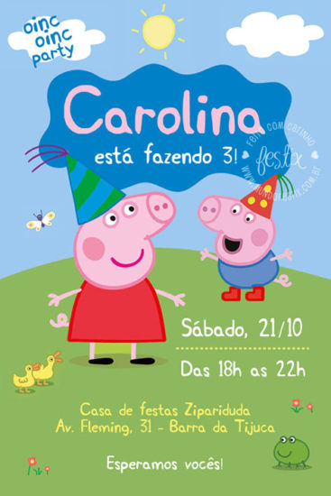 convite virtual peppa pig